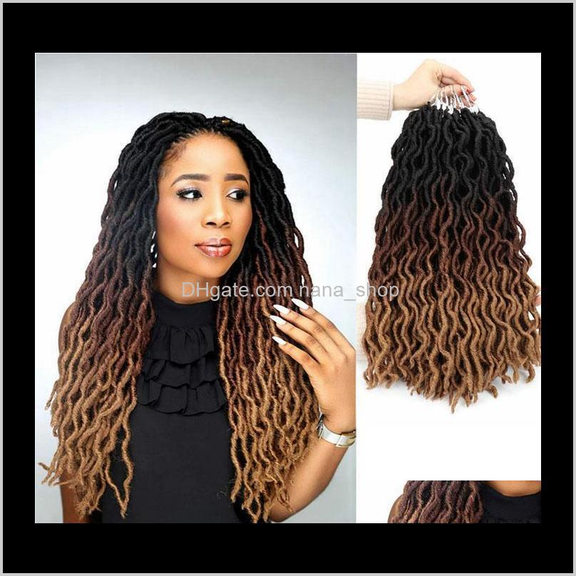 synthetic gypsy locs crochet braiding ombre curly 18inch 24 strands goddess faux locs crochet braids extensions soft dreads dreadlocks