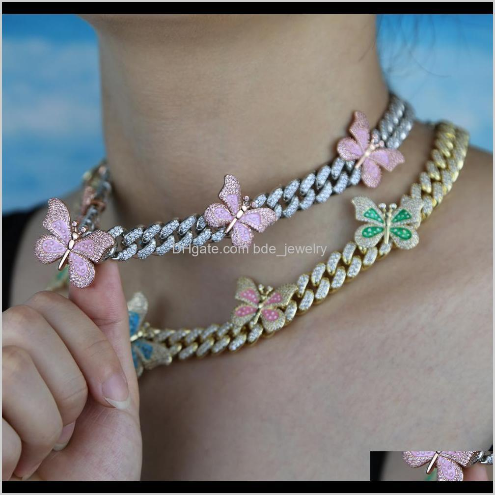 iced out bling cz miami cuban link chain butterfly charm choker necklace luxury bling bling hip hop jewelry for men women gift y200810