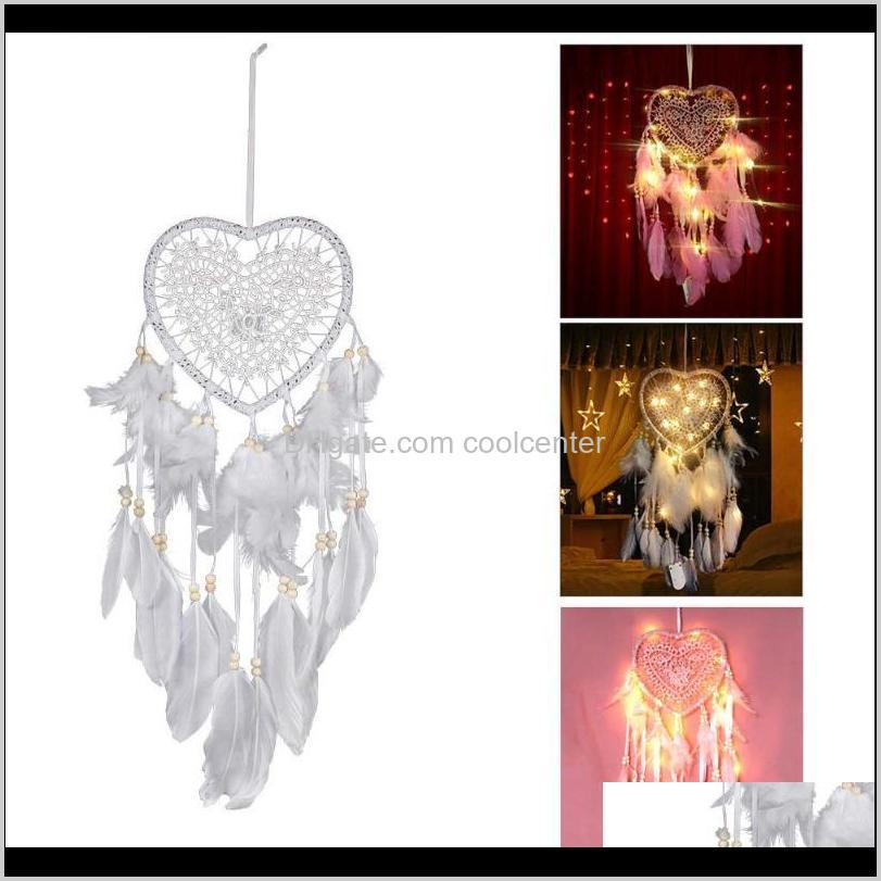 dromenvanger creative led light with feather night light bedside wall hanging home party wedding decoration gift wind chimes