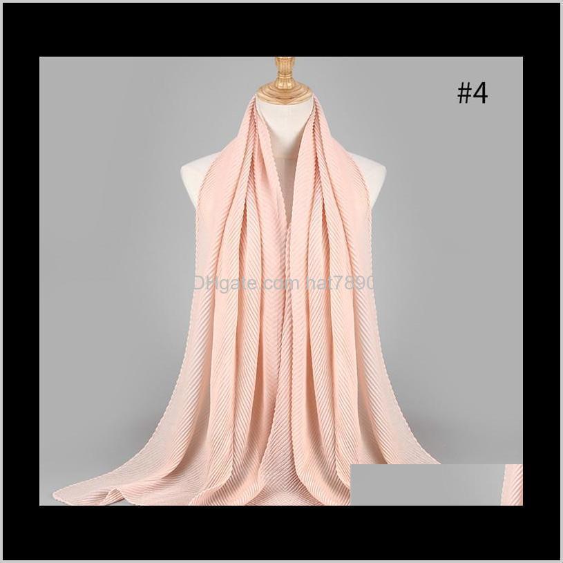 2020 NEW pleated maxi hijabs scarf elegant shawl plain maxi muslim hijab women wrinkle scarves shawls soft muffler 1 pc