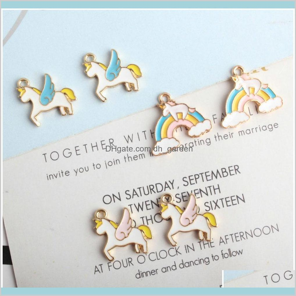 cartoon animal horse rainbow enamel alloy gold plated color charms pendants for handmade diy earrings necklace key chain jewelry