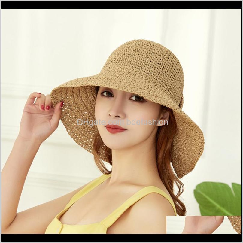 fashion summer wide sexy side bonnet summer hat women bow sun hat floppy side inflatable woman girl straw bucket cap1