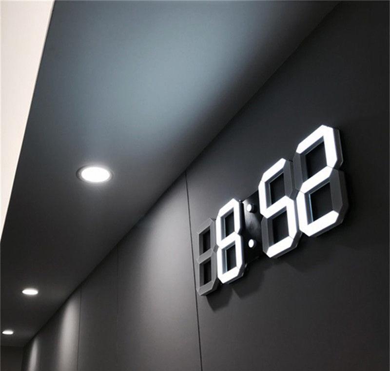 modern design 3d led wall clock modern digital alarm clocks display home living room office table desk night wall clock display