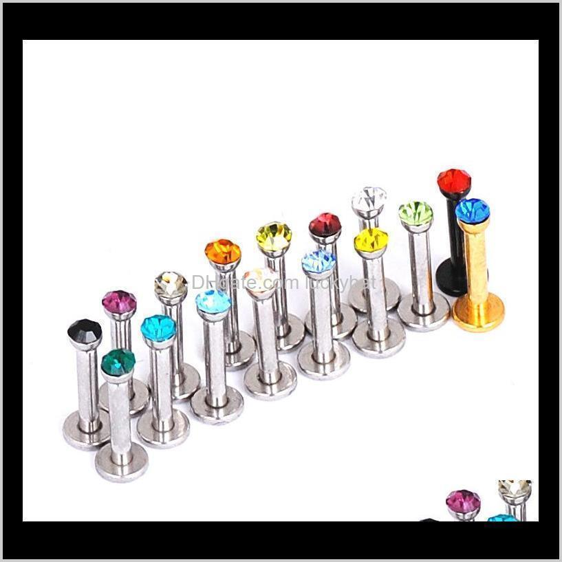 16 pcs/lot new year trendy surgical 16 gauge stainless steel 1.4*11mm crystal labret balls lip piercing rings jewelry earrings