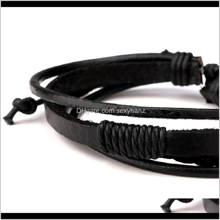fashion braided black brown leather mens charm bracelet handmade design hip hop jewelry punk bracelets for men gift