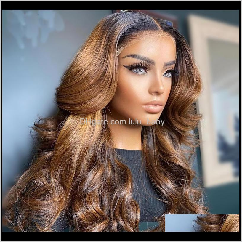 brazilian ombre honey brown wave with dark roots remy 13x6/4 lace front human hair wig for women baby adjustable strap wigs