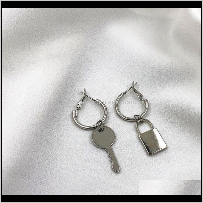 europe and the united states a minimalist asymmetric personality metal key lock geometric circle earrings earrings