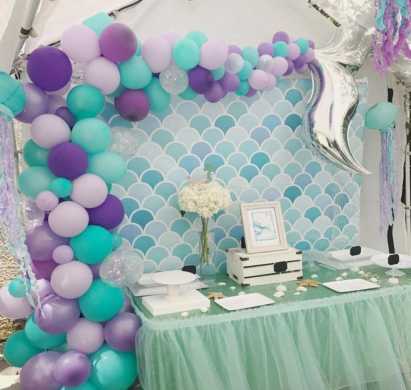 42pcs balloon arch set mermaid tail balloon little mermaid party decorations supplies wedding girl birthday party decor