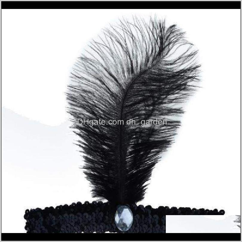 feather headband xmas dance cosplay performances dress up props ostrich feather sequins headband headdress jewelry xd22861