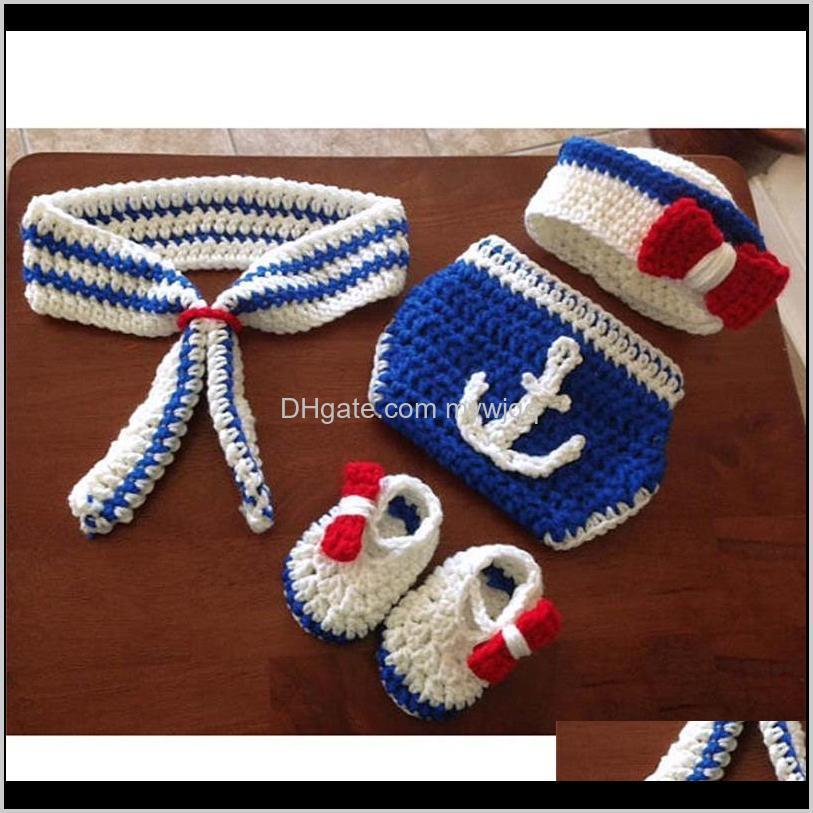 newborn baby knitted beanies sailor design handmade crochet toddler infant photography props baby shooting props 0-6m boys