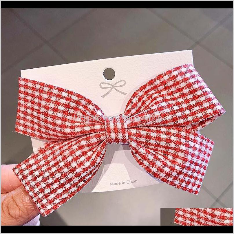 new women girls cute plaid bow hairpins sweet hair clips headband barrettes lovely hair ornament fashion accessories