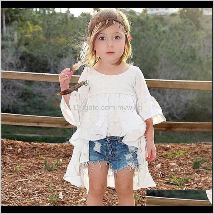 girls dress girls shorts designer brand kids toddler kids baby girls summer outfits clothes dovetail dress + denim shorts 2pcs set 710