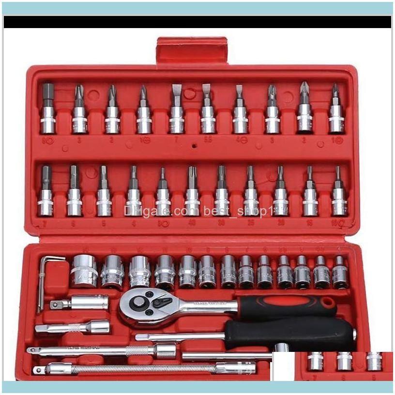 Screwdrivers 46Pcs Spanner 14 Screwdriver Drive Ratchet Car Motorcycle Repair Toolkit Wrench Socket Set Household Mechanic Diy Xaiz3