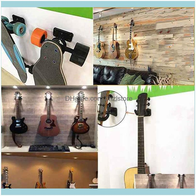 Golf Training Aids 3 Pcs Guitar Wall Mount Hook Acoustic Electric Bass Ukulele Black Metal Bracket