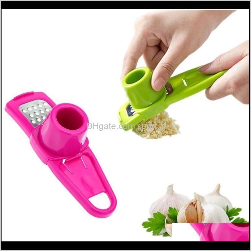 colorful stainless steel garlic press multi-functional grinding garlic mini ginger grinding grater planer slicer cutter slicer