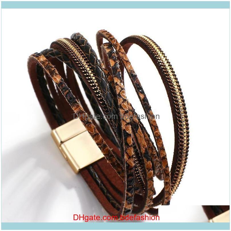 Genuine Leather Bracelets for Women Fashion Bohemian Snake skin Pattern Charm Bracelets Female Jewelry