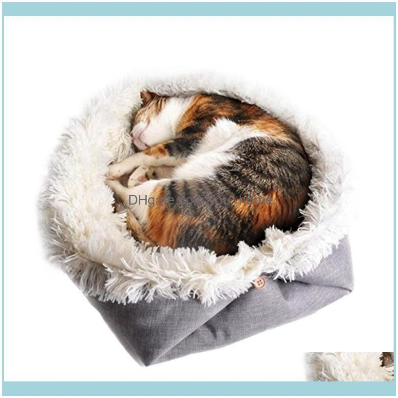 Pet Cat Bed Washable Pet Cat Sleeping House Nest Plush Bed Winter Warm Pets Mats Kitten Soft Sleeping Bag1
