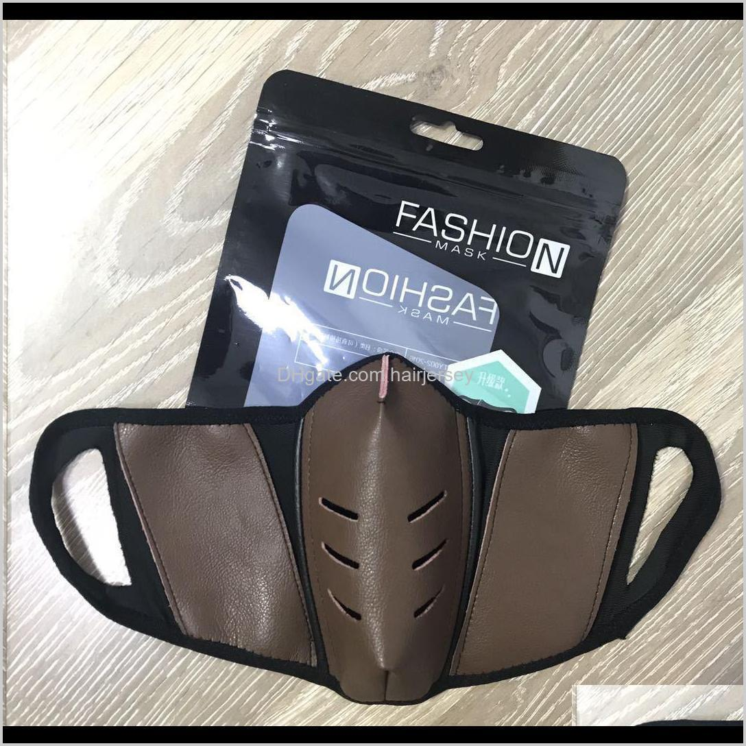us stock unisex face masks covers pu leather men women dustproof face designer mask fashion mouth-muffle washable outdoor sports party