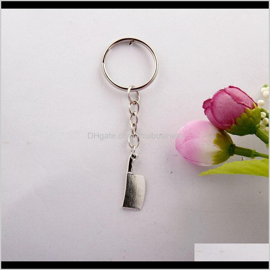 50pcs/lot hot fashion vintage silver chef kitchen knife charms keychain keyring diy fit jewelry findings for women&men f973