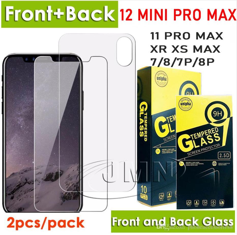 حامي شاشة الهاتف الأمامي والخلف من الزجاج المقسى لآيفون 12 ميني 11 برو ماكس XR XS X 8 7 زائد فيلم في حزمة البيع بالتجزئة واحدة