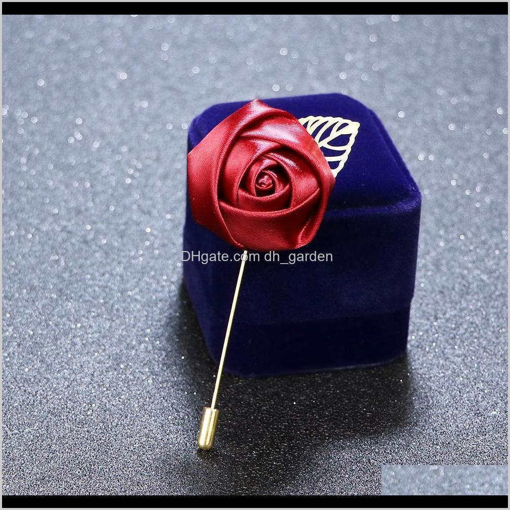 33 colors luxury fabric rose flower lapel pin mens uniform coat clothes badge broaches for women wedding party fashion jewelry