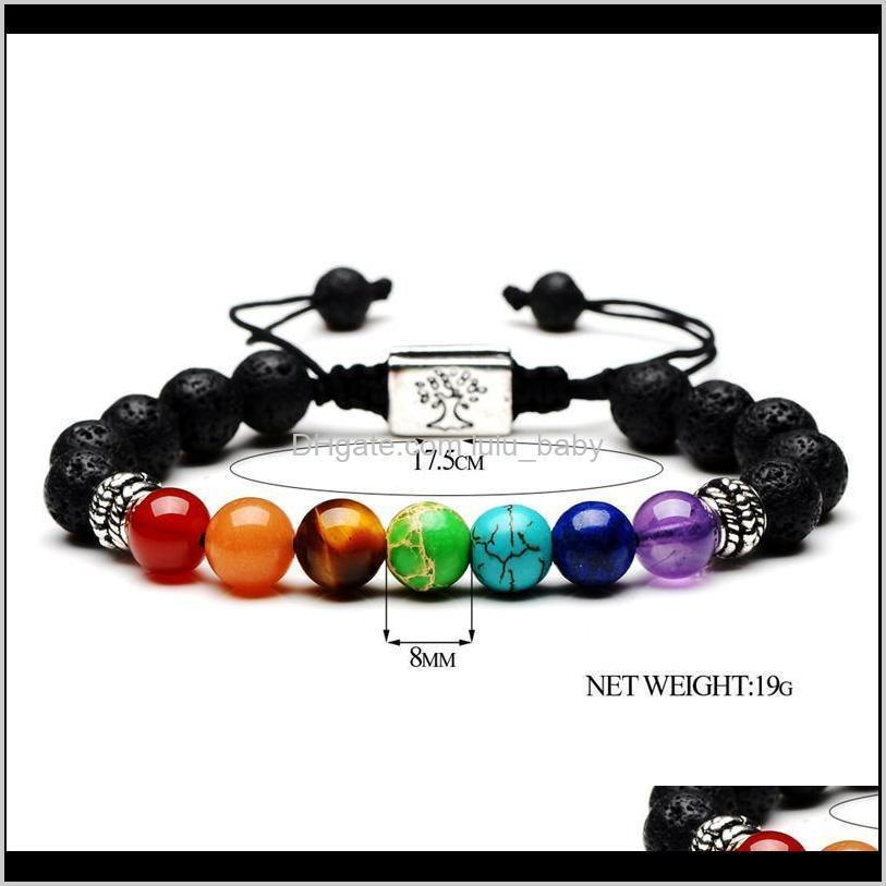 2020 yoga handmade 7 chakra tree of life charm bracelets lava stones multicolor beads rope bracelet women men bracelets bangles