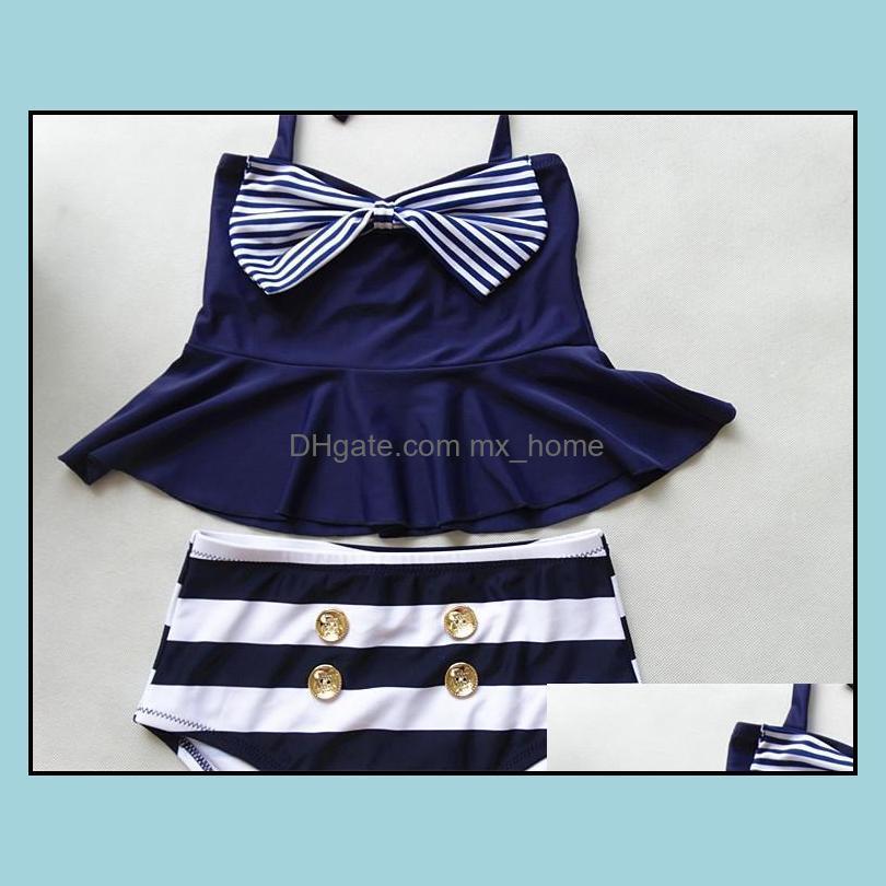 PrettyBaby 2016 Big Girls Skirt Bikini Two Piece Swimsuits Striped Sailor Shirt high waist bikini set Navy swimsuit kids