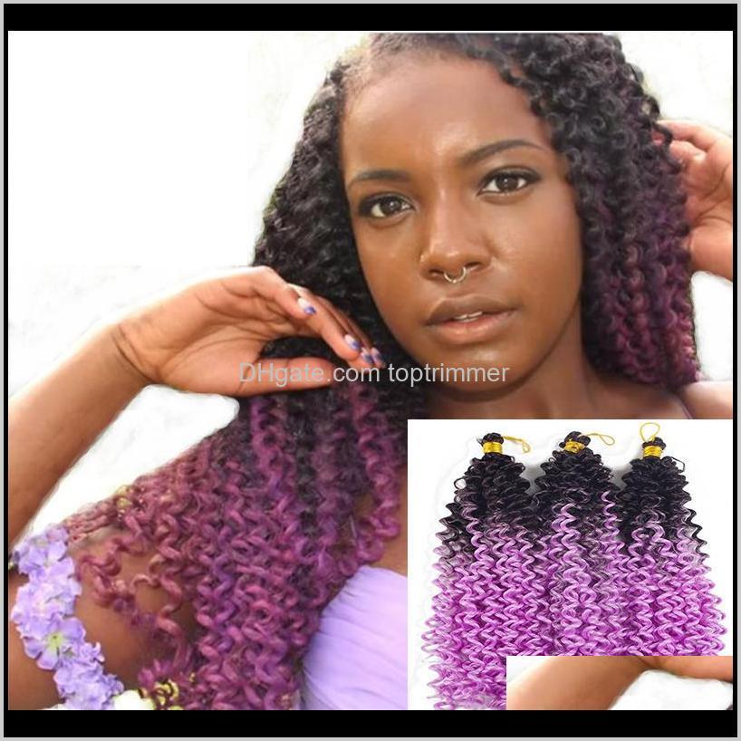 water wave synthetic crochet braids fashion ombre two tone colors fiber twist hair extensions 100g/pack 14 inch