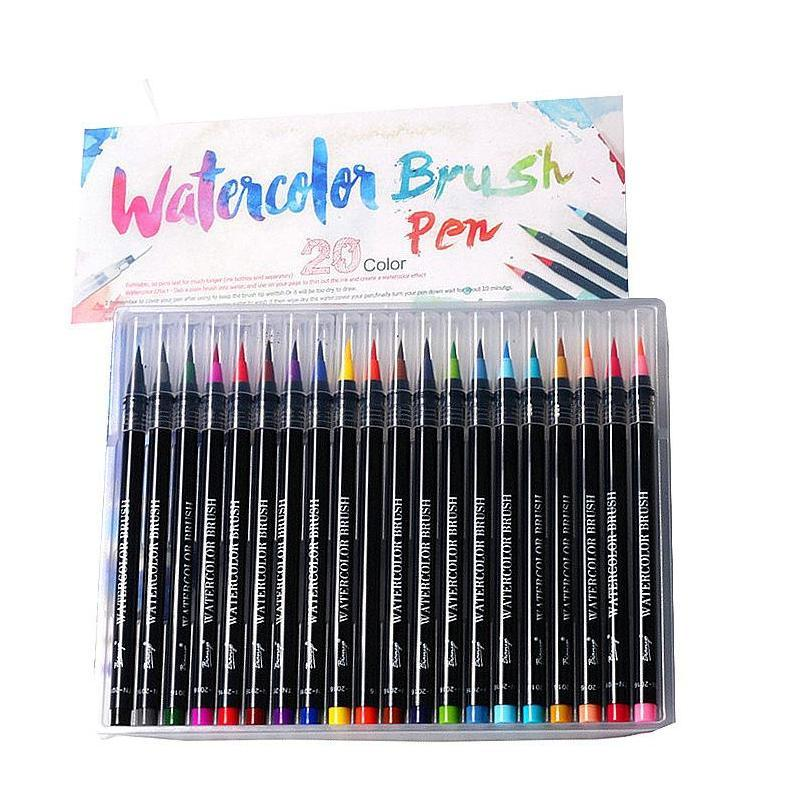 real brush pens 20 colors for watercolor painting with flexible nylon brushtips paint markers for coloring calligraphy and drawing