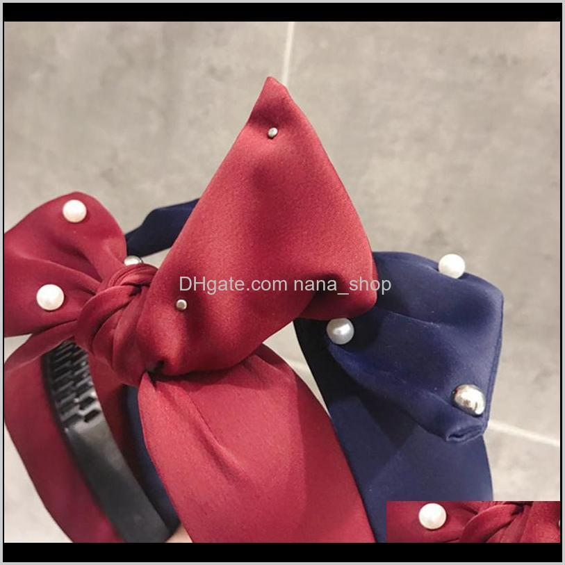 xugar fashion girls pearl bow hairbands non-slip teeth knot headbands for girls cloth wide side hair hoop women hair accessories