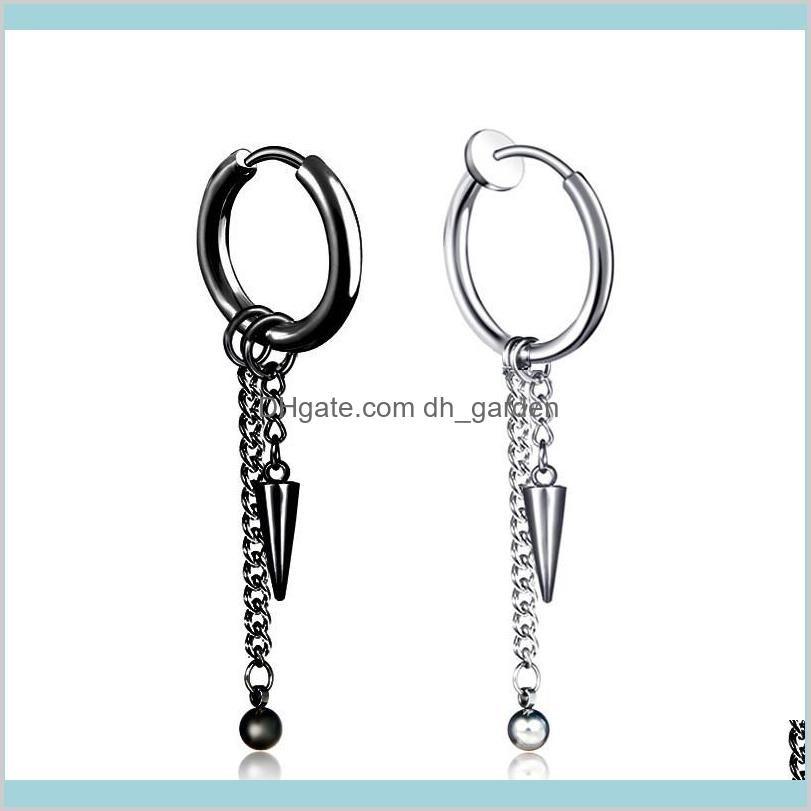 Stainless steel clip on earrings black cone chain tassel hoop earrings ear cuff for women men fashion jewelry will and sandy new