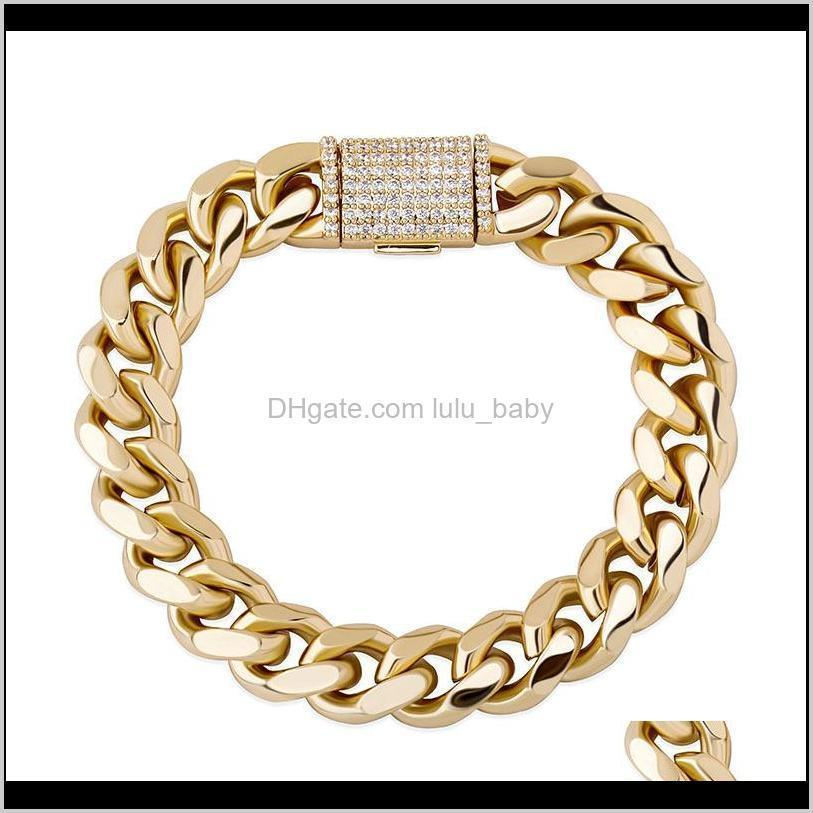 luxury bling zircon jewelry box buckle fashion 18k gold rhodium plated mens hip hop cuban chain bracelets
