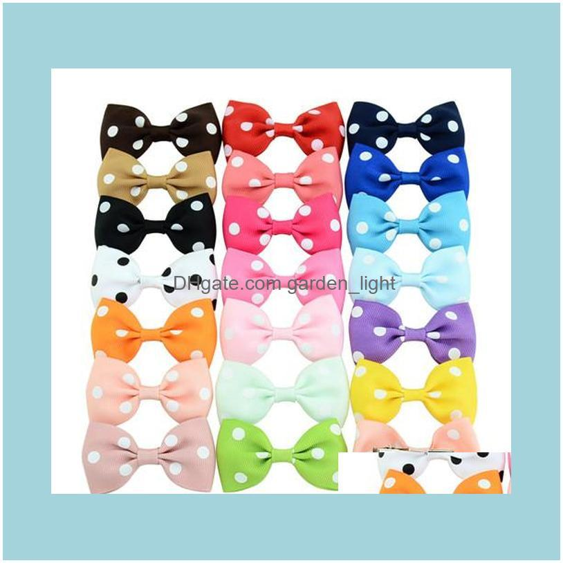 Dog Apparel 20Pcs Pet Grooming Accessories Dot Style Mix Color Ribbon Cat Hair Bows Alloy Clips Cute Headwear Handmade Hairpins