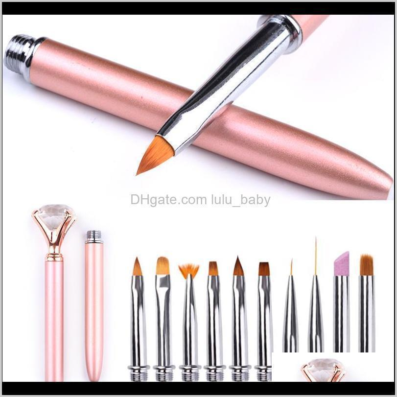 rose gold nail painted pen manicure tools tweezers rhinestones diamond set for salon nail diy mixed pearl metal accessories