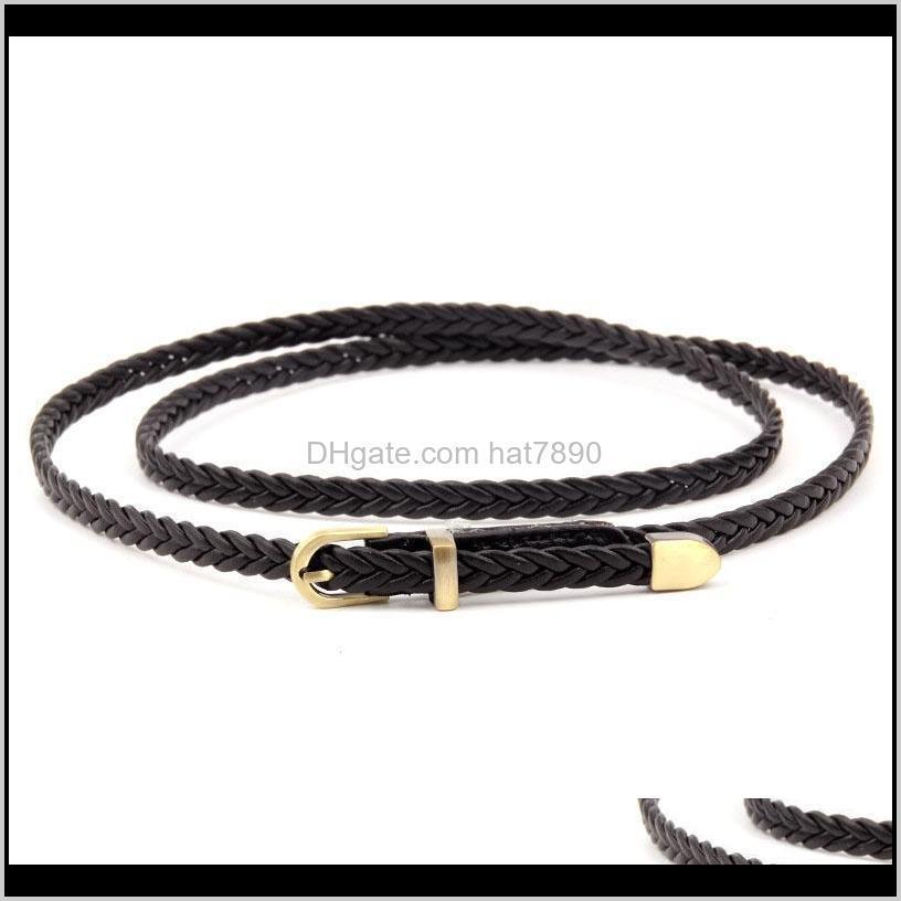 New Women Thin Waist Belt PU Leathe Braid Weave All-match Pin Belts AIC88