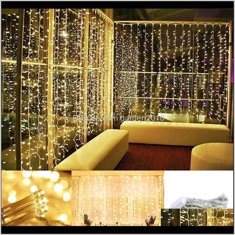3x1m/3x2m/3x3m led warm white curtain string lights garland christmas wedding fairy light garden party wedding decoration lights