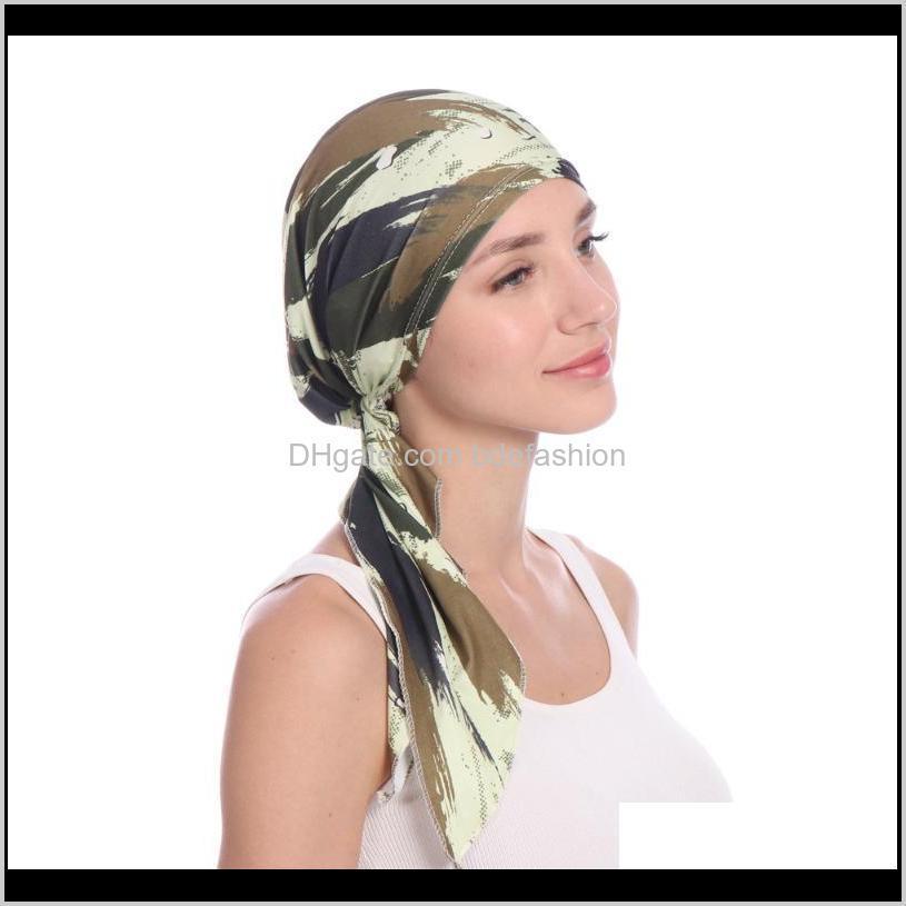 european and american printed arc flower cloth hat muslim baotou cap milk silk cap