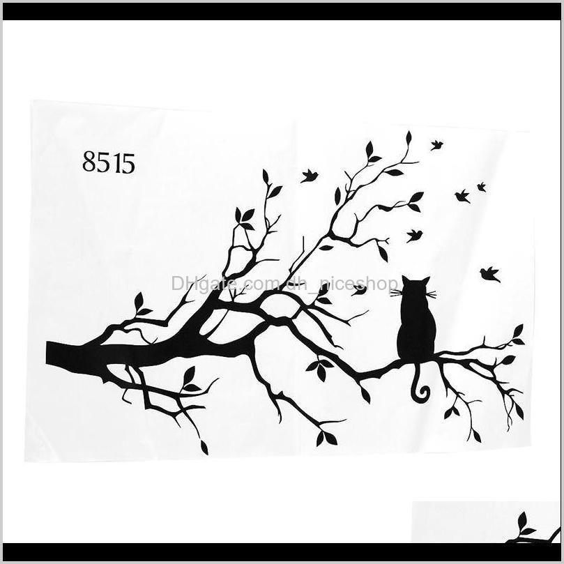 big deal newly designed cat on long tree branch diy wall sticker animals birds wall decal art transfers window sticker hom