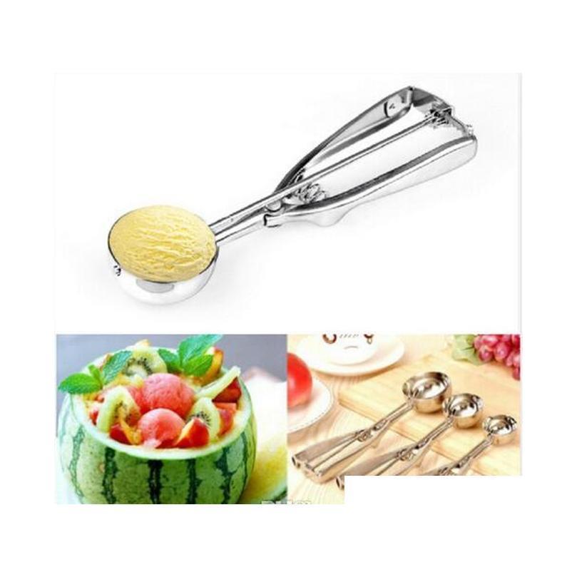 ice cream spoon stainless steel 4cm 5cm 6cm ice cream scoop  dough disher spoon watermelon spoon kitchen tools