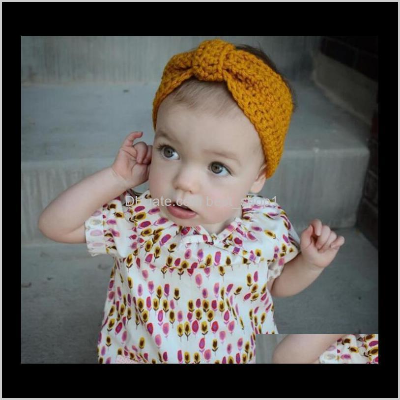 kids girls winter crochet warm headbands baby girls xmas turbon knot knitted hairband ear warmer children princess turban hair