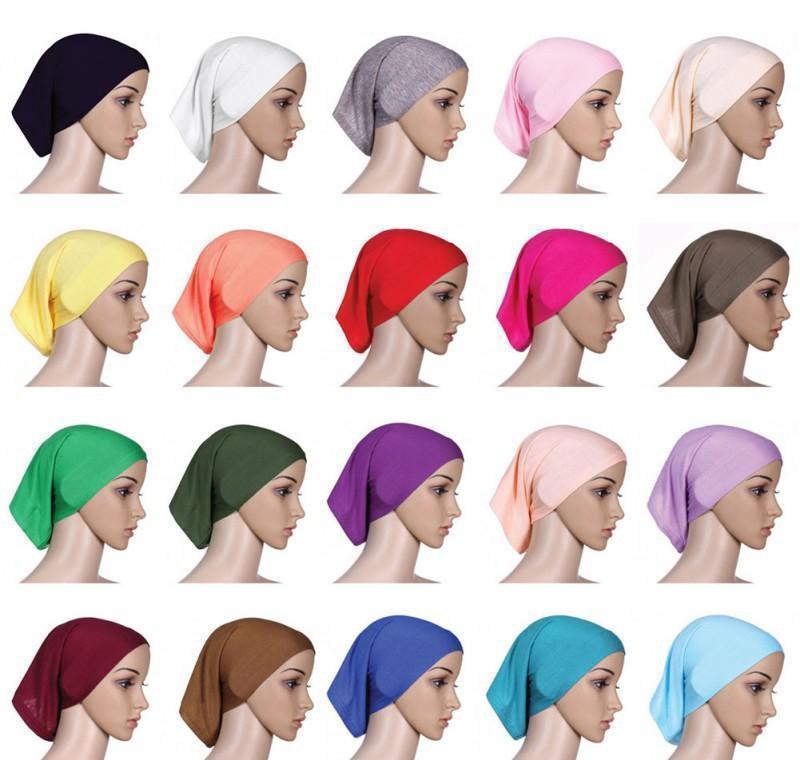 muslim women inner hijab headscarf cap islamic underscarf hats hot ninja scarf ramadan stretch cotton bonnet caps