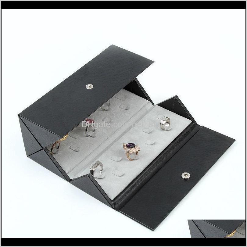 leather foldable portable snap 36-bit large capacity ring storage jewelry box