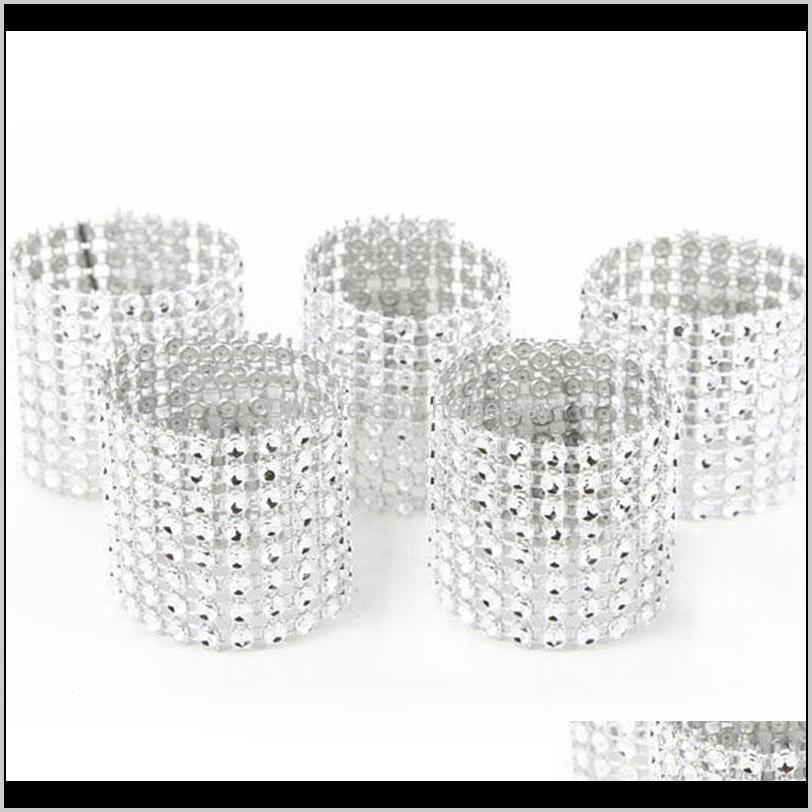 high 10pcs mesh trim bling diamond wrap cake napkin ring roll crystal ribbons party wedding table decoration party uej