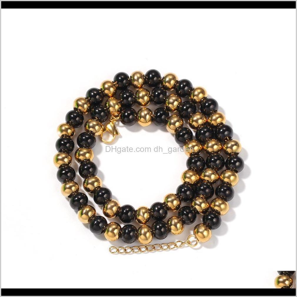 4mm 6mm 4 colors guys classic golden catholicism beads necklace chain for men and women stainless steel hip hop chains jewelry for