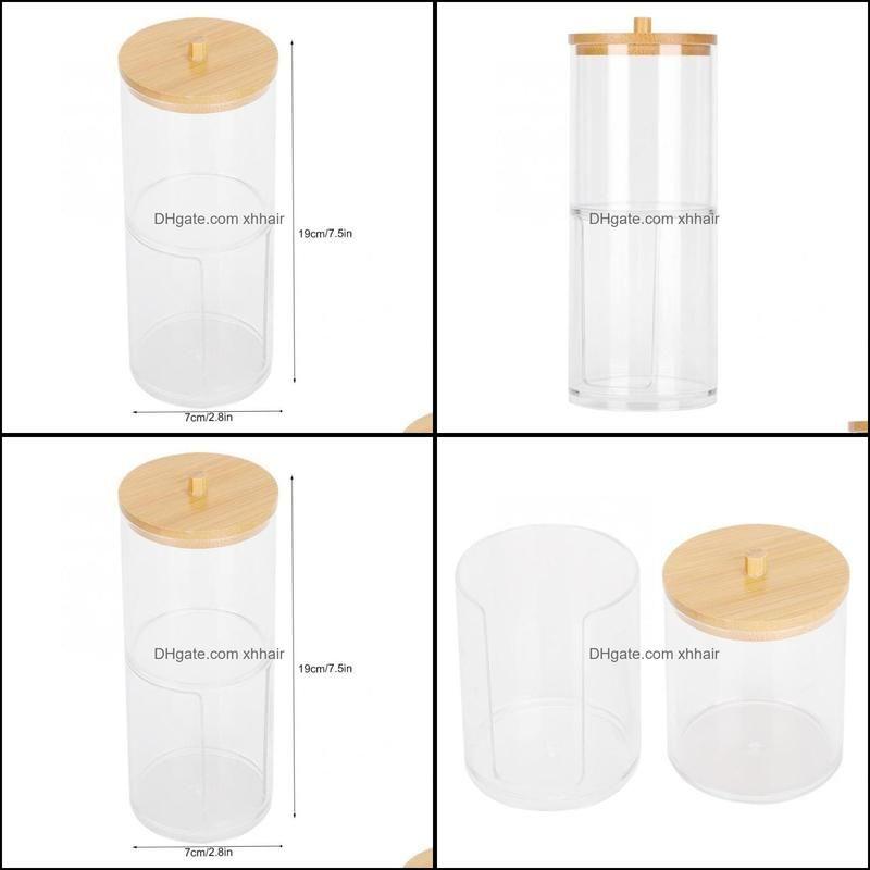 Storage Bottles & Jars Seasoning Box 2 In 1 Transparent Jar Cotton Swab Desktop Organizer With Bamboo Cover Seasonings Pot