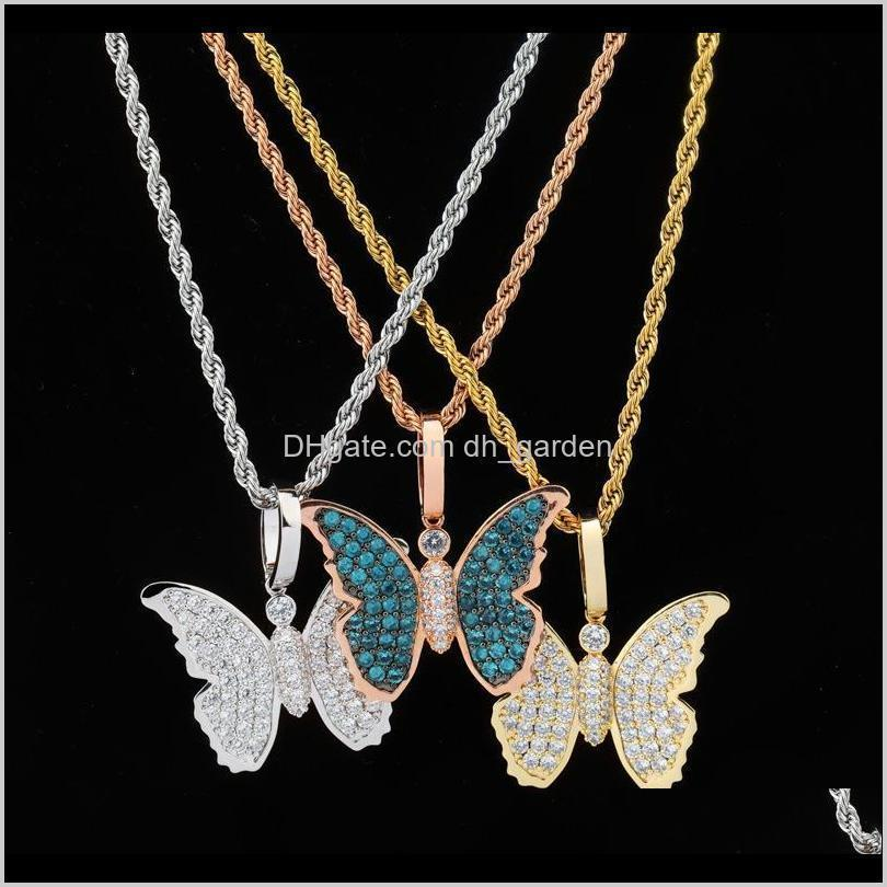 new 18k rose gold plated bling blue cubic zirconia butterfly pendant necklace masculina bijoux hip hop rapper jewelry gifts for men