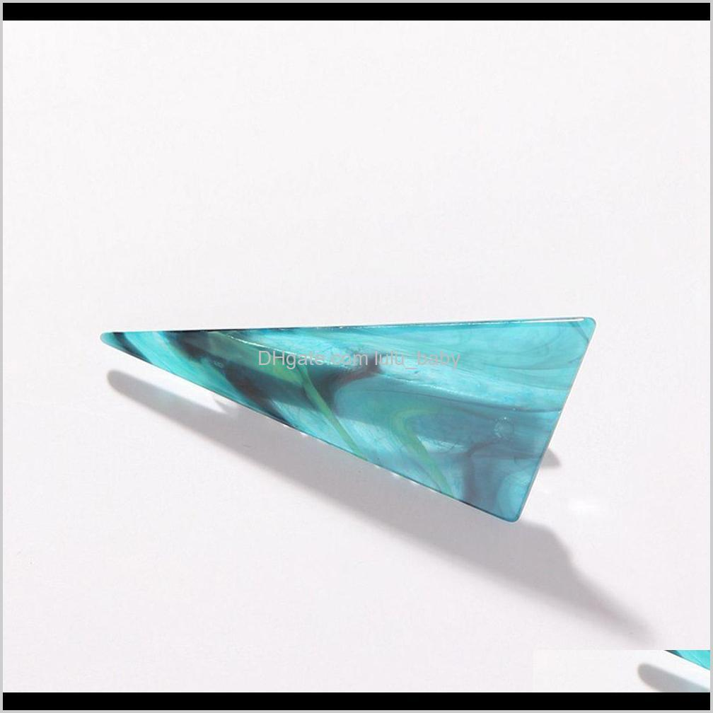 korea fashion women hair clip elegant ladies headdress acetate marble triangle hairpin hair accessories shipping