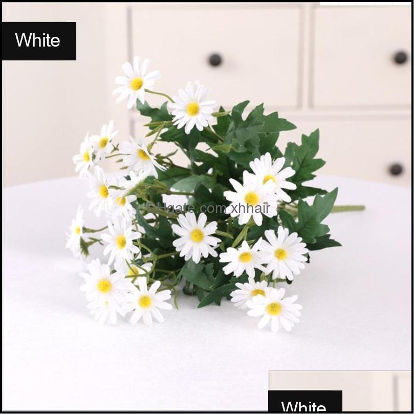 Decorative Flowers & Wreaths Wedding Events Decoration Artificial Bouquet Home Art Decor Plastic 9 Heads Yellow White Silk Cloth Daisy