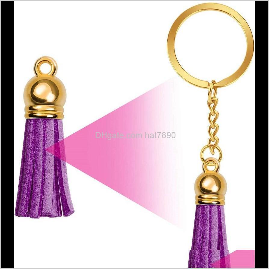 Kimter Keychain Making Kit 150pcs Colorful Tassel Pendant Bulk Jump Rings Charm Keyrings with Chain for Christmas DIY Jewelry Q393FZ