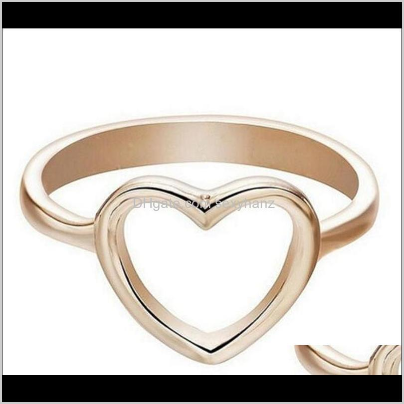 dainty women ring hollow heart ring for couple wedding promise infinity eternity love jewelry boho anillos mujer bff gifts